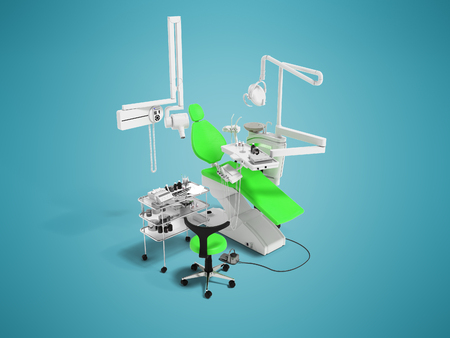 Modern green dental chair and bedside table with tools and appliances for dental treatment 3d render on blue background with shadow