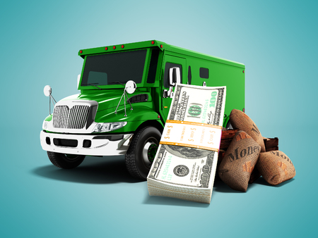 Modern concept of carrying money and stack of dollars in the bank green truck armored car front 3d rendering on blue background with shadow