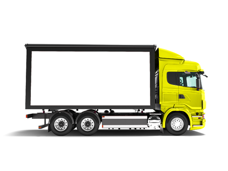 Modern yellow truck with white trailer for transportation of goods from the side 3d render on white background with shadow