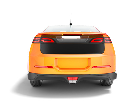 Modern orange electric car with black inserts for summer trips isolated 3d render on white background with shadow
