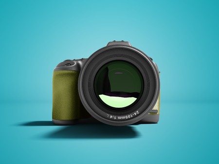 Modern yellow professional camera for nature photography front 3d rendering not blue background with shadow Stock Photo