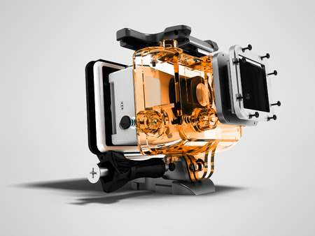 Modern orange camera for extreme relaxation dismantled 3D render on gray background with shadow