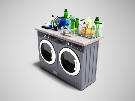 Washing and drying machine with detergents on the shelf top and iron perspective 3d rendering on gray background with shadow