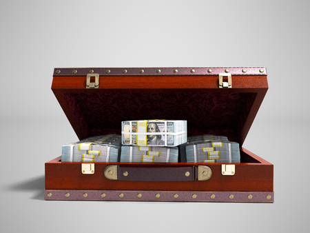 Wooden brown suitcase with money stock of dollars inside with leather insets in front 3d render on gray background with shadow Stock Photo