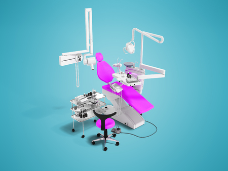 Modern violet dental chair and bedside table with tools and appliances for dental treatment 3d render on blue background with shadow