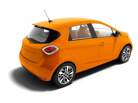 Modernes orangefarbenes Elektroauto für Sommerreisen lokalisierte 3d rendern auf weißem Hintergrund mit Schatten Standard-Bild