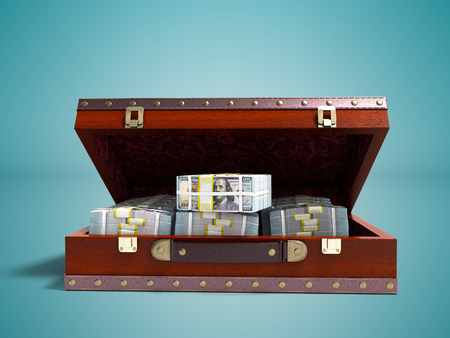 Wooden brown suitcase with money stock of dollars inside with leather insets in front 3d render on blue background with shadow