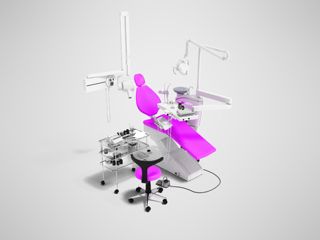Modern violet dental chair and bedside table with tools and appliances for dental treatment 3d render on gray background with shadow