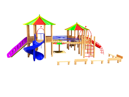 Modern wooden playground for children with hanging ladders and slides 3d render on a white background no shadow Stock Photo