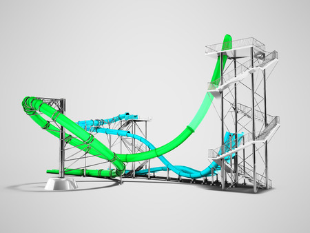 Modern green blue water roller coaster rides for a water park for 3d rendering on gray background with shadow Stock Photo
