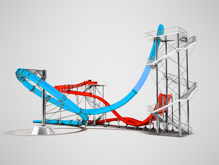 Modern blue red water roller coaster rides for water park behind 3d rendering on gray background with shadow