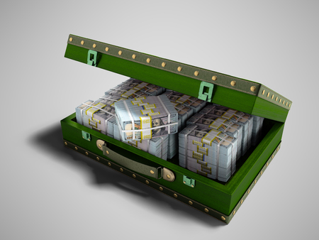 Wooden green suitcase with money stock of dollars inside with leather insets 3D render on gray background with shadow