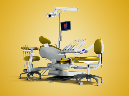 Modern gold dental chair and borax with backlight and monitor for work on 3d render on orange background with shadow Stock Photo