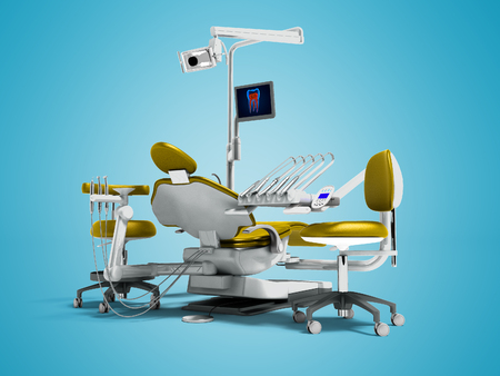 Modern gold dental chair and borax with backlight and monitor for work on 3d render on blue background with shadow