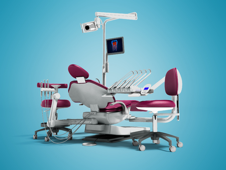 Modern cherry dental chair and borax with backlight and monitor for work on 3d render on blue background with shadow