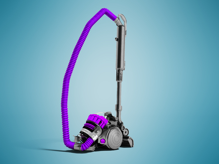 Modern violet vacuum cleaner with cyclone filter with black inserts 3D render on blue background with shadows