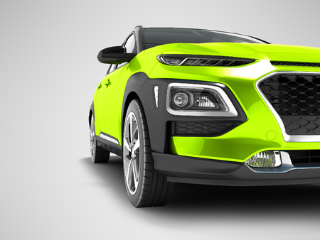 Modern light green car crossover for travel with black insets in front 3d render on gray background with shadow