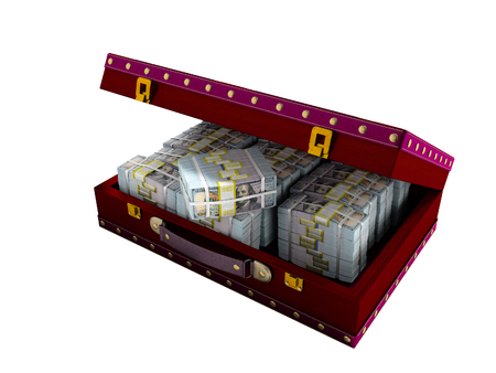 Wooden red suitcase with one million dollars inside with leather insets 3D render on white background no shadow
