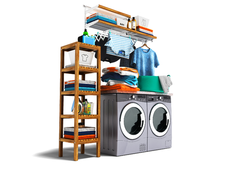 Modern concept of washing and drying machine with detergents on shelf with wood and iron and baskets with clothes on the left 3d render on white background with shadow