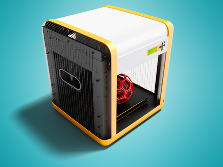 Modern white 3d printer for home use with orange inserts 3D render on blue background with shadow Stock Photo