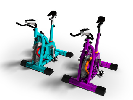 Modern turquoise and purple exercise bikes perspective 3d render on white background with shadow