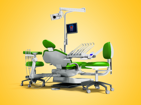 Modern green dental chair and borax with light and monitor for work for 3d render on orange background with shadow
