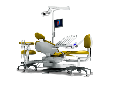 Modern gold dental chair and borax with backlight and monitor for work on 3d render on white background with shadow