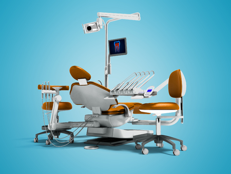Modern orange dental chair and borax with backlight and monitor for work on 3d render on blue background with shadow Stock Photo