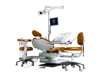 Modern orange dental chair and borax with backlight and monitor for work on 3d render on white background no shadow