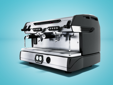 Modern metal professional coffee machine for two cups in the coffee shop front view 3d rendering on blue background with shadow
