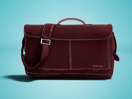 Modern burgundy shoulder bag 3d render on blue background with shadow Stock Photo
