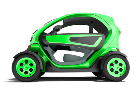 Modern green electric car for city trips to two places 3d render on white background with shadow