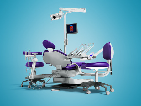 Modern purple dental chair and borax with backlight and monitor to work for 3d render on blue background with shadow