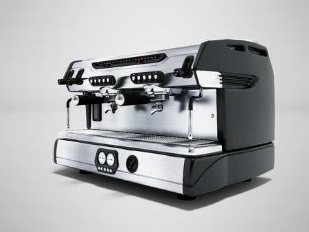 Modern metal professional coffee machine for two cups in the coffee shop front view 3d rendering on gray background with shadow