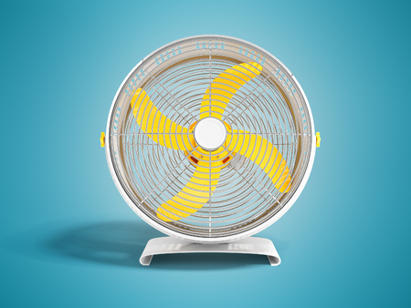 Modern metal yellow fan for cooling large rooms Front view 3d render on blue background with shadow