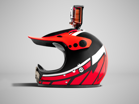 Modern red motorcycle helmet with red camera action left 3d render on gray background with shadow