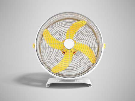 Modern metal yellow fan for cooling large rooms Front view 3d render on gray background with shadow Stock Photo