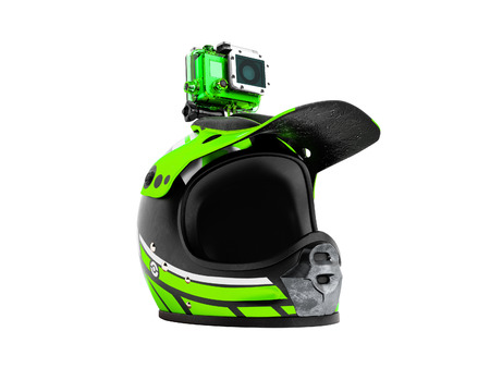 Modern green motorcycle helmet with green action camera 3d render on white background no shadow Stockfoto