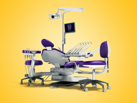 Modern purple dental chair and borax with backlight and monitor to work for 3d render on orange background with shadow