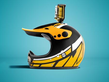 Modern yellow motorcycle helmet with yellow action camera left 3d render on blue background with shadow