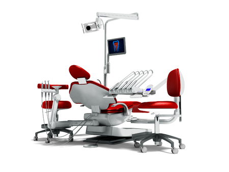 Modern red dental chair and borax with light and monitor for work for 3d rendering on white background with shadow Stock Photo