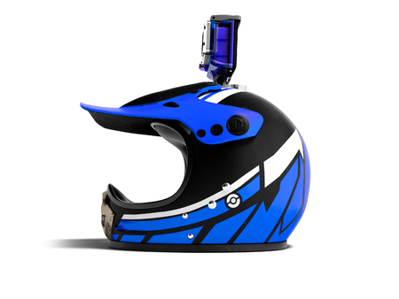 Modern dark blue motorcycle helmet with blue action camera left 3d render on white background with shadow