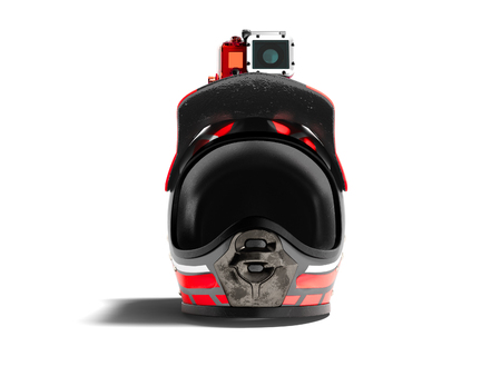 Modern red motorcycle helmet with red camera action from the front 3d render on a white background with shadow Stockfoto