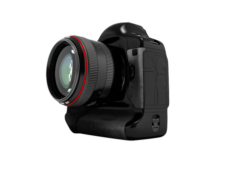 Modern black camera with red insert for professional shooting 3D render on white background no shadow