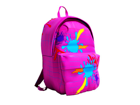 Pink school bag backpack 3d render on white background no shadow