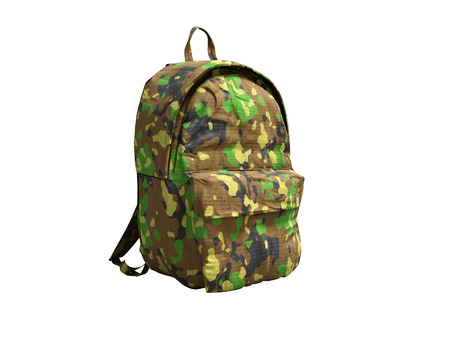 Modern military backpack in school for boy and teenager with green brown color 3d render on white background no shadow