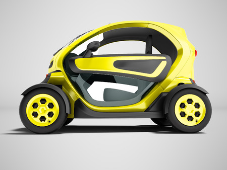 Modern yellow electric car for city trips to two places 3d render on gray background with shadow
