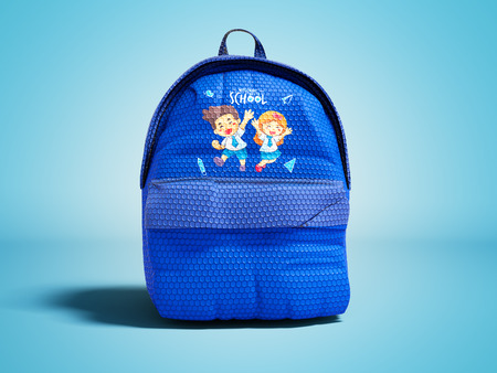 Modern blue backpack in school for teenager with a picture of the guys from the school 3D render on blue background with shadow Stockfoto