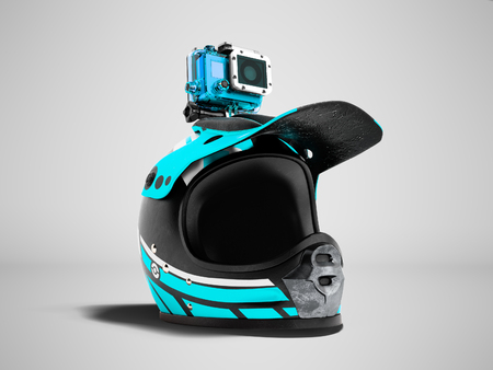 Modern blue motorcycle helmet with blue action camera 3d render on gray background with shadow