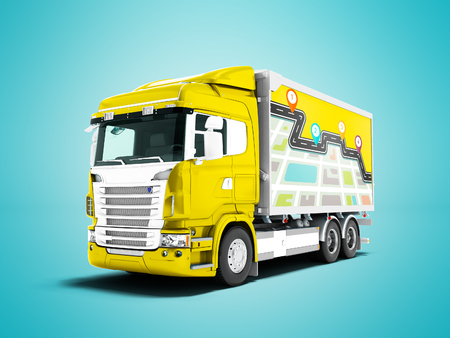 Modern yellow truck with trailer with white cargo inserts 3D render on blue background with shadow Stock Photo
